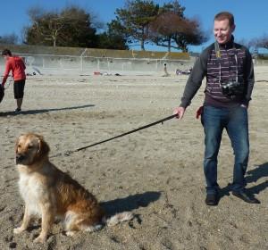 Hawana, la chienne de Jessica, avec Florent.